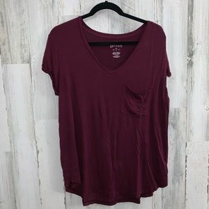 4/$25 American Eagle v neck soft and sexy tee wine